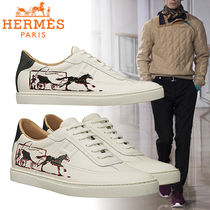 HERMES Leather Logo Sneakers