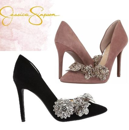 Suede Blended Fabrics Plain Pin Heels Party Style