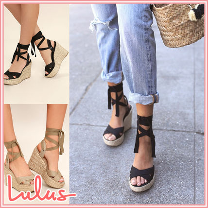 Open Toe Rubber Sole Casual Style Heeled Sandals