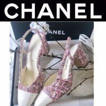 CHANEL ICON Plain Toe Tweed Blended Fabrics Street Style Bi-color