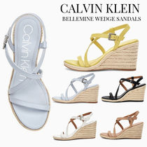 Calvin Klein Open Toe Casual Style Plain Leather Platform & Wedge Sandals