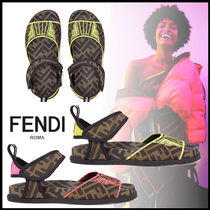 FENDI Monogram Open Toe Rubber Sole Casual Style Street Style