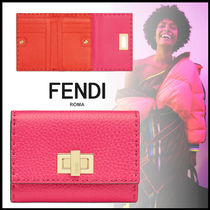 FENDI PEEKABOO Calfskin Plain Folding Wallet Logo Folding Wallets