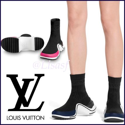 Louis Vuitton Ankle & Booties Monogram Plain Toe Blended Fabrics Block Heels Elegant Style