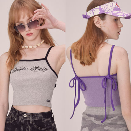 Short Casual Style Street Style Plain Cotton Logo Cropped