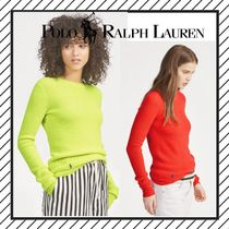 POLO RALPH LAUREN Crew Neck Casual Style Cashmere Street Style Long Sleeves