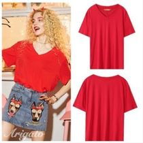 ELF SACK Street Style V-Neck Plain Medium Short Sleeves With Jewels