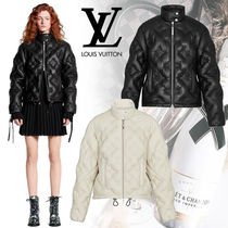 Louis Vuitton Short Monogram Blended Fabrics Leather Down Jackets
