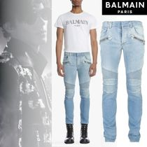 BALMAIN Stripes Street Style Cotton Jeans & Denim