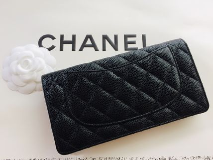 CHANEL MATELASSE Leather Long Wallets