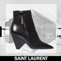 Saint Laurent Niki Plain Leather Block Heels Elegant Style