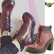 Dr Martens Leather Chunky Heels High Heel Boots