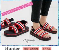HUNTER Stripes Open Toe Casual Style Sport Sandals Chunky Heels