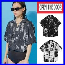 OPEN THE DOOR Unisex Street Style Oversized Polo Shirts
