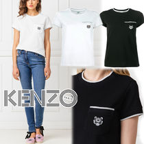 KENZO Crew Neck Pullovers Street Style Plain Cotton Short Sleeves