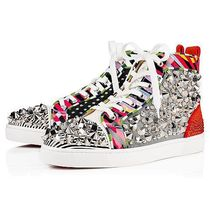 Christian Louboutin Stripes Studded Leather Handmade Sneakers