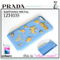 PRADA SAFFIANO LUX Plain Other Animal Patterns Leather Smart Phone Cases