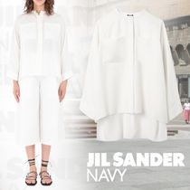 JIL SANDER NAVY Silk Long Sleeves Plain Oversized Elegant Style
