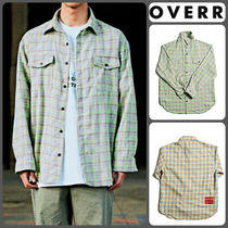 OVERR Other Check Patterns Unisex Long Sleeves Cotton Oversized