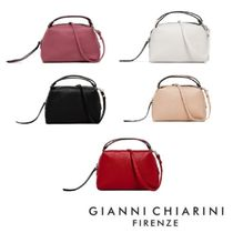 GIANNI CHIARINI 2WAY Plain Leather Elegant Style Shoulder Bags