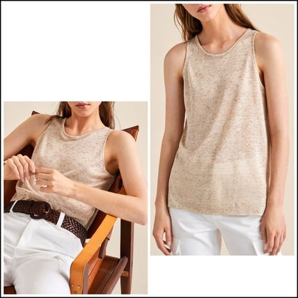 Crew Neck Linen Sleeveless Medium Tanks & Camisoles
