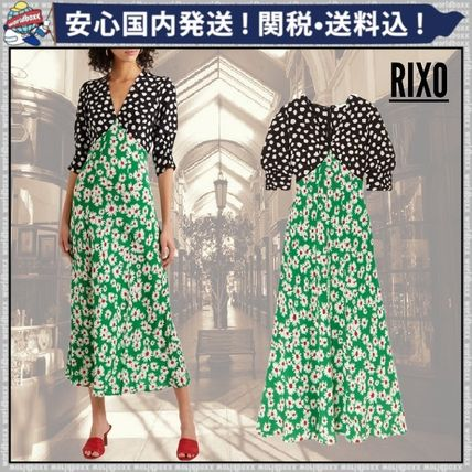 Flower Patterns Casual Style Maxi Silk V-Neck Dresses