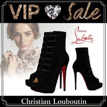 Christian Louboutin Open Toe Suede Blended Fabrics Plain Pin Heels Elegant Style
