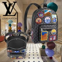 Louis Vuitton DAMIER GRAPHITE Street Style A4 Leather Backpacks