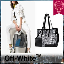 Off-White BINDER CLIP Unisex Street Style Totes