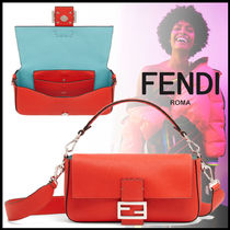 FENDI BAGUETTE Calfskin 3WAY Plain Elegant Style Shoulder Bags