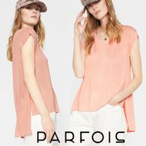 PARFOIS Crew Neck Plain Medium Short Sleeves T-Shirts