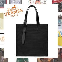 HERMES Blended Fabrics A4 Plain Leather Totes