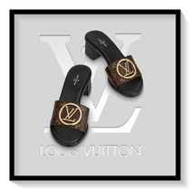 Louis Vuitton Monogram Open Toe Casual Style Blended Fabrics Leather