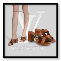 Louis Vuitton Monogram Open Toe Casual Style Blended Fabrics Plain Leather