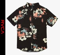 RVCA Flower Patterns Street Style Short Sleeves Shirts