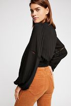 Free People Casual Style Puffed Sleeves Plain Medium Shirts & Blouses