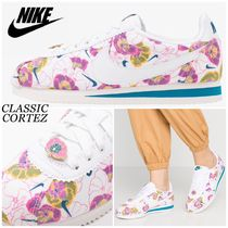 Nike CORTEZ Flower Patterns Round Toe Rubber Sole Lace-up Casual Style