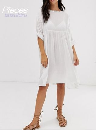 Casual Style Plain Medium Short Sleeves High-Neck Dresses