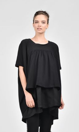 Aakasha Crew Neck Peplum Linen Plain Medium Short Sleeves Handmade
