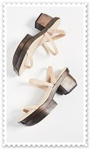 CULT GAIA Open Toe Plain Leather Elegant Style Heeled Sandals