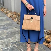 Blended Fabrics Street Style Bi-color Plain Straw Bags