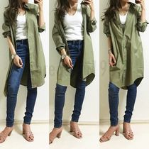 Casual Style Long Sleeves Plain Cotton Long Oversized