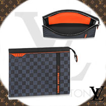 Louis Vuitton DAMIER COBALT Other Check Patterns Canvas Clutches