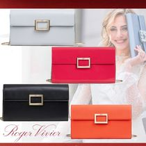 Roger Vivier 2WAY Chain Plain Leather Party Style Clutches