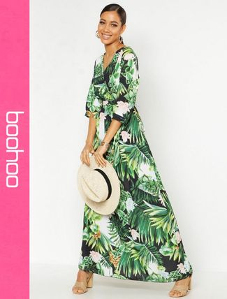Tropical Patterns Casual Style Maxi Long Dresses