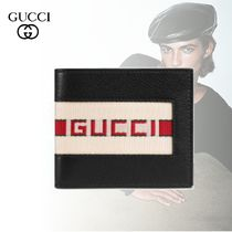 GUCCI Stripes Blended Fabrics Leather Folding Wallets