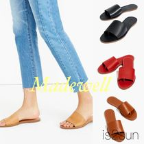 Madewell Open Toe Casual Style Plain Leather Block Heels