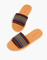 Madewell Stripes Open Toe Casual Style Block Heels Sandals