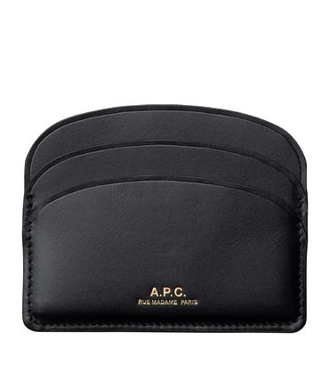 Unisex Calfskin Bi-color Plain Card Holders