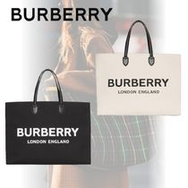 Burberry Unisex Canvas Street Style A4 2WAY Plain Logo Totes